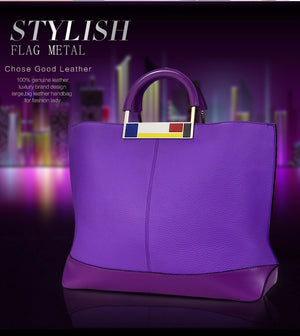 Flag Metal Large Tote Bags Purple European Brand Designer Real Leather Women Handbags Roomy Big Bags Laptop Purse
