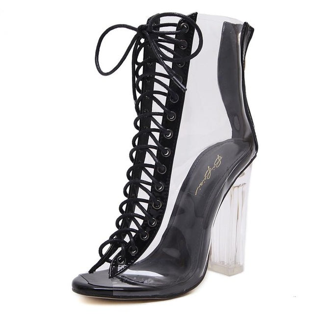 Club Dresses | Club Outfits | Party Dresses shoes, Transparent Gladiator Clear Translucent Transparent Lace Up Peep Toe Ankle Bootie W Perspex Block Heel - Clubbing Love