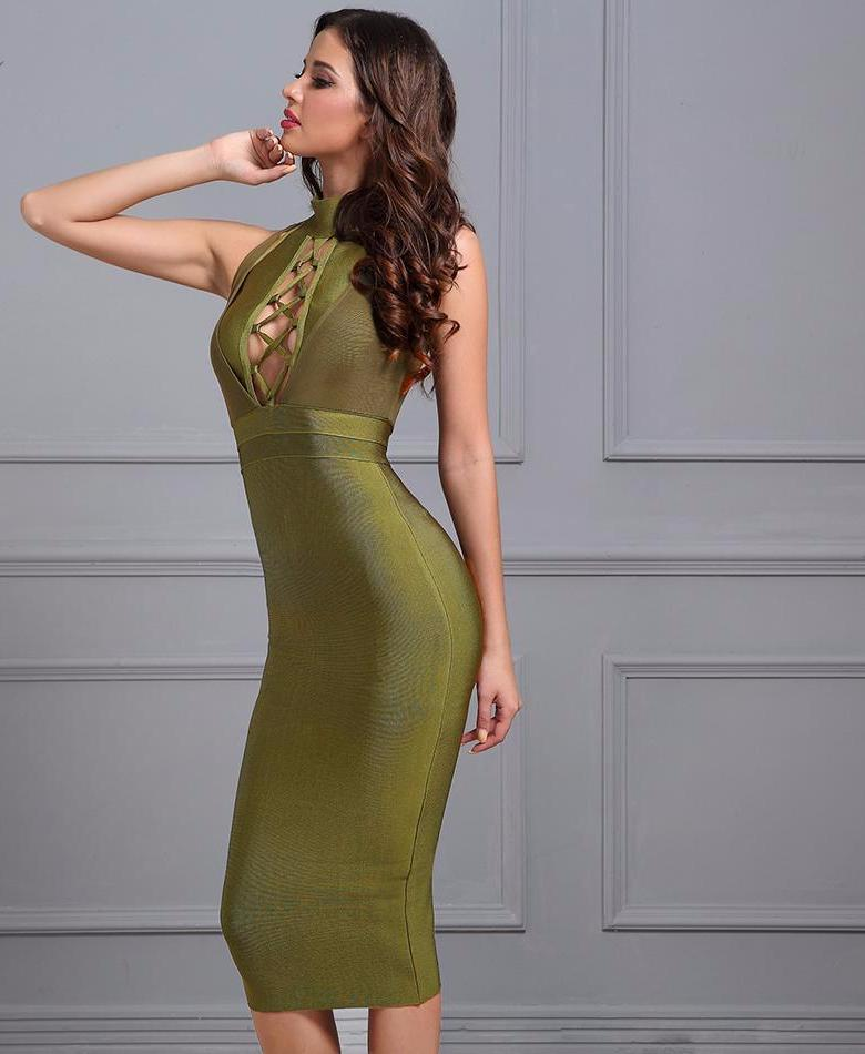 Club Dresses | Club Outfits | Party Dresses Dress, Women's Sexy Bandage Dress Women Army Green Evening Party Dress Sexy Halter Sleeveless Hollow Out Bodycon Dress Vestido - Clubbing Love