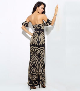 Club Dresses | Club Outfits | Party Dresses , Beads Bra Maxi Dresses Black/Gold - Clubbing Love