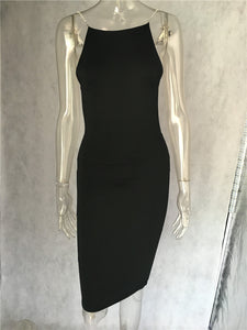 Club Dresses | Club Outfits | Party Dresses Dress, Women Sleeveless crystal chain backless dress sexy bodycon dress black white - Clubbing Love