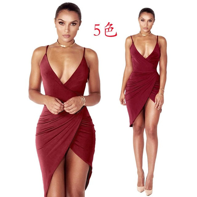 Club Dresses | Club Outfits | Party Dresses Dress, Women's Sexy Fitted Bodycon Sleeveless V Neck Club Evening Party Irregular Mini Dress - Clubbing Love