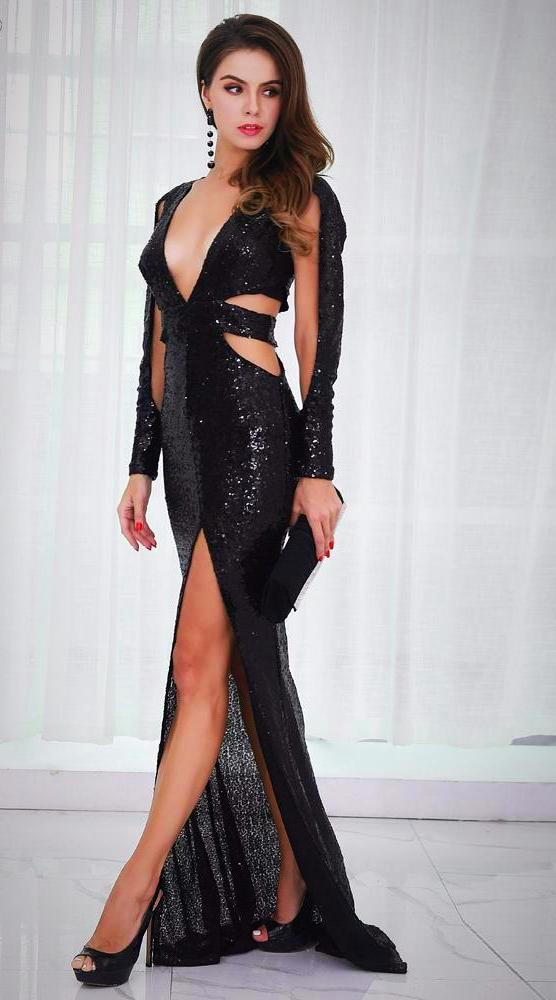 Club Dresses | Club Outfits | Party Dresses Dress, Club Dresses | Party Dresses | Sequin Hollow Out Split Maxi - Clubbing Love
