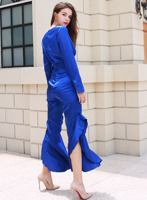 Royal Blue Satin Jumpsuit - Club Dresses | Party Dresses | Club Outfits. Club Dresses from ClubbingLove.com