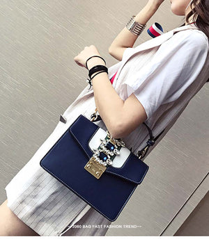 Women Leather Handbag Winter/Spring Diamond Gem colorful Strap Shoulder Bags Famous Designer collection