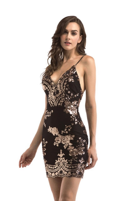 Club Dresses | Club Outfits | Party Dresses Dress, Women Gold Black Sequins Dress  New Sexy V-neck Backless Women Sundress Luxury Party Club Wear Mini Sequined Dress Vestidos - Clubbing Love