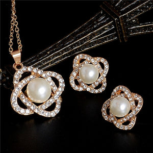 Elegant Simulated Pearl Bridal Jewelry Sets Wedding Jewelry Leaf Crystal Gold  Silver Plated Necklaces Earrings Sets