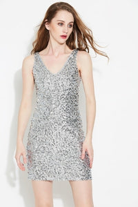 Club Dresses | Club Outfits | Party Dresses Dress, Women's Sexy Deep V Neck Sequin Glitter Bodycon Stretchy Mini Party Dress - Clubbing Love