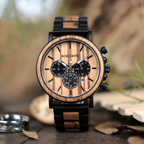 Image of Wooden Watch Men Luxury Stylish Wood Timepieces Chronograph Military Quartz Watches in Wood Gift Box Personalized with message