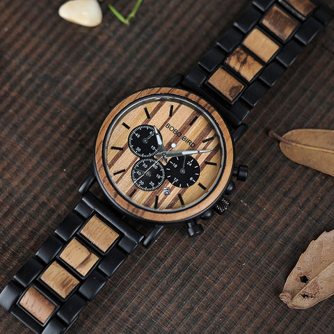 Wooden Watch Men Luxury Stylish Wood Timepieces Chronograph Military Quartz Watches in Wood Gift Box Personalized with message