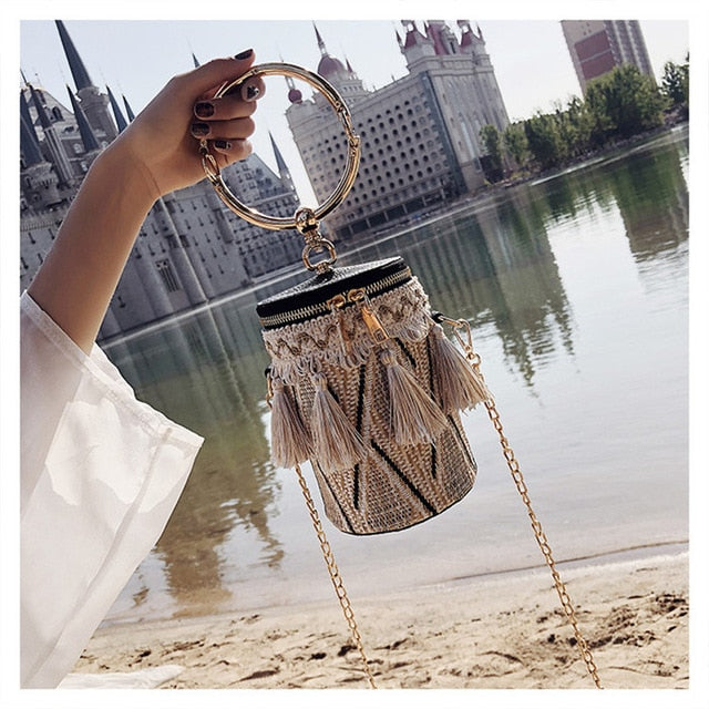 Club Dresses | Club Outfits | Party Dresses Bags, Japan Style Bucket Cylindrical Straw Bags Barrel-Shaped Woven Women Crossbody Bags Metal Handle Shoulder Tote Bag - Clubbing Love