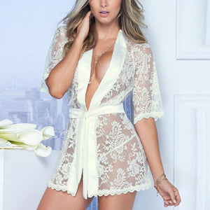 Hot Lingerie Women Pajamas Nightgown Babydoll Lace Bath Robe Nightwear