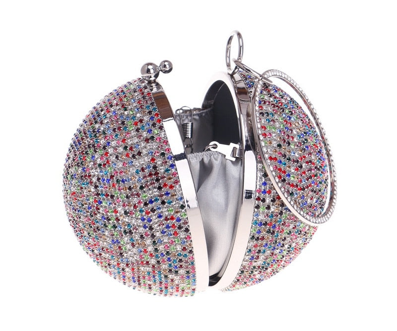 Club Dresses | Club Outfits | Party Dresses Bags, Women Evening Clutch Purse Diamonds Colorful Lady Round Shaped Chain Shoulder Wedding Handbags Crystal Purse - Clubbing Love