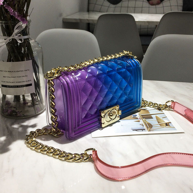 Club Dresses | Club Outfits | Party Dresses Bags, PVC Chic Lady Gradient Candy Color Shoulder Mini Cross body Bag with Chain - Clubbing Love