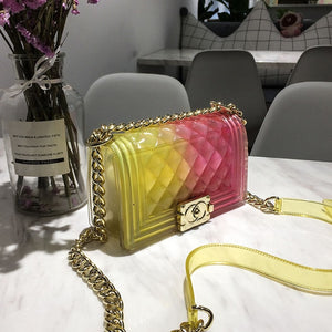 Latest Women Girl Messenger Bag PVC Chic Colorful Matte Jelly Chain Bags Handbags Diamond Lattice Women Bags