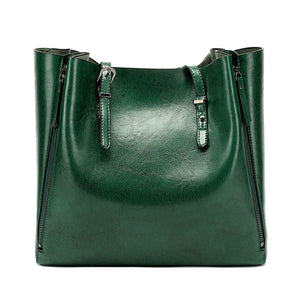 Women Large Saddle Tote Bag Bucket Shoulder Leather Messenger Bag