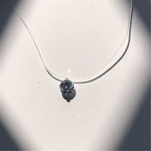 Transparent Fishing Line Necklace Silver Invisible Chain Necklace Women Rhinestone Choker Necklace Collier Femme