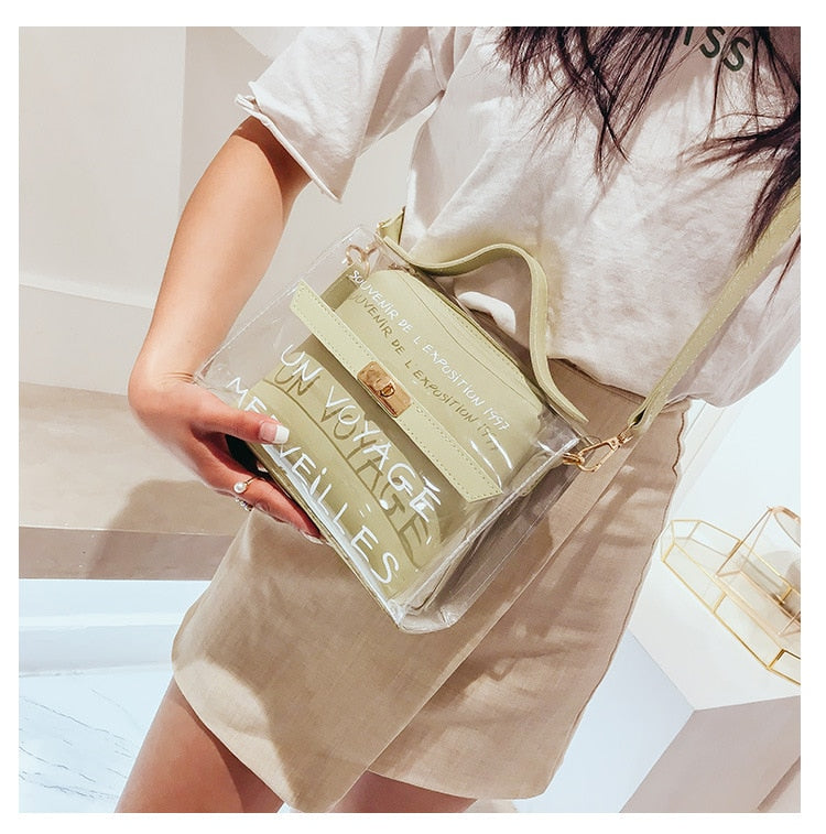 Club Dresses | Club Outfits | Party Dresses Bags, Women Transparent Bag Clear PVC Jelly Small Tote Messenger Bags Female Cross body Shoulder Bags - Clubbing Love
