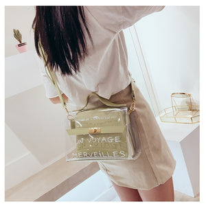 Women Transparent Bag Clear PVC Jelly Small Tote Messenger Bags Female Cross body Shoulder Bags