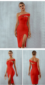 Club Dresses | Club Outfits | Party Dresses Dress, Women's Sexy V Neck Bodycon Bandage Wrap Dress Front Slit Bandage Midi Club Dresses - Clubbing Love