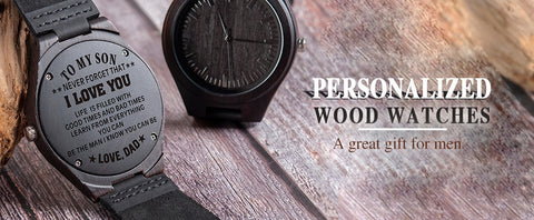 Image of Wood Watches Engraving Men Watch Family Gifts Personalized Watches Special Groomsmen Present a Great Gift for Men Drop Shipping