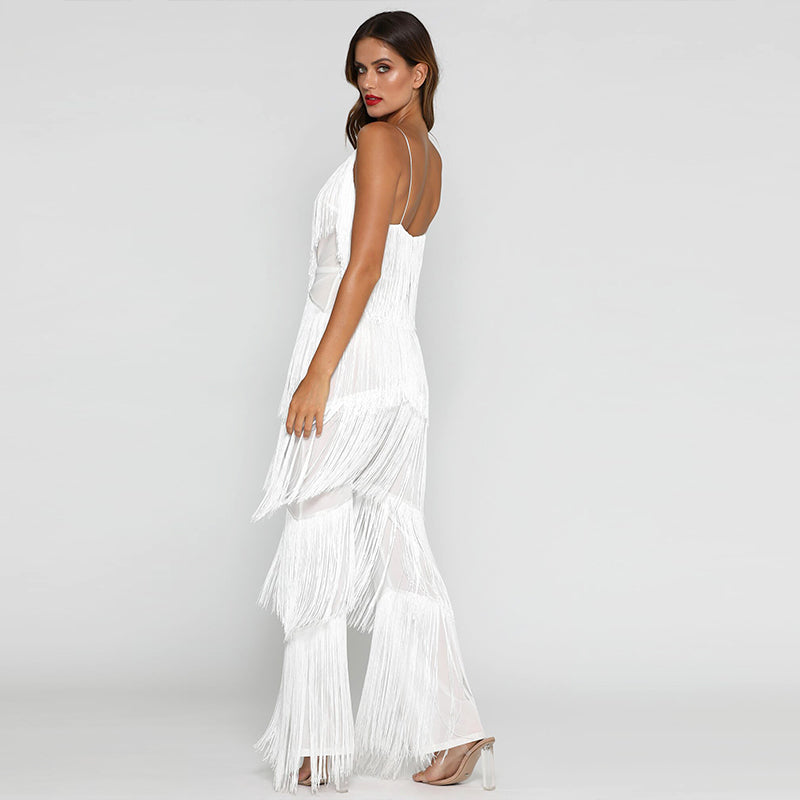 Club Dresses | Club Outfits | Party Dresses Dress, Womens Jumpsuit Romper Tassel Sexy solid white Jumpsuit Playsuit Long Deep V Neck Club Wear Overalls for women - Clubbing Love
