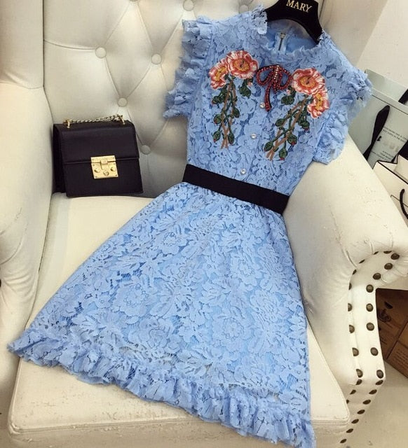 Club Dresses | Club Outfits | Party Dresses Dress, Dynasty Blue Lace Dress and Red 3D Butterfly Flower Lace Crochet Hollow Out Dress Designer - Clubbing Love