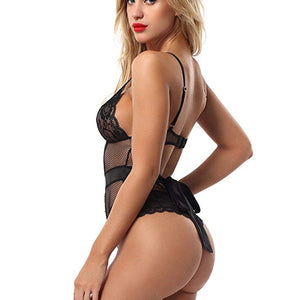 Club Dresses | Club Outfits | Party Dresses Lingerie, One Piece Fishnet Teddy Lace Cups Bodysuit Mesh Babydoll Lingerie - Clubbing Love