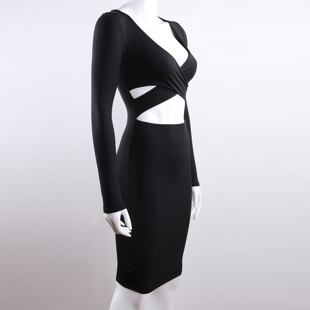 Long Sleeve Bandage Body con Midi Dress Club Wear Elastic Cotton Elegant Sexy Pencil Party Dresses - Club Dresses | Party Dresses | Club Outfits. Club Dresses from ClubbingLove.com