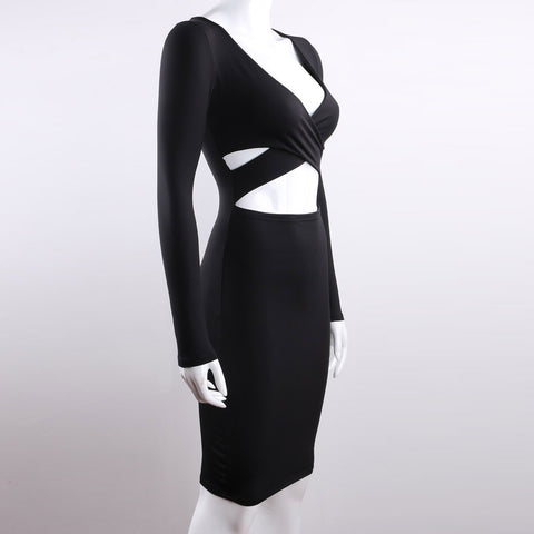 Image of Long Sleeve Bandage Body con Midi Dress Club Wear Elastic Cotton Elegant Sexy Pencil Party Dresses - Club Dresses | Party Dresses | Club Outfits. Club Dresses from ClubbingLove.com