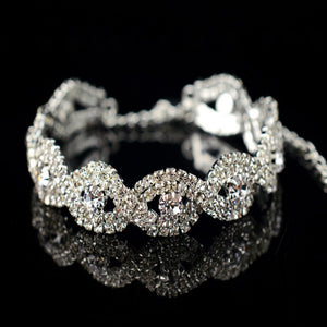 Women's Silver Rhinestone Plated Crystal Bracelets - Club Dresses | Party Dresses | Club Outfits. Club Dresses from ClubbingLove.com