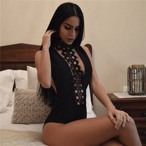 Club Dresses | Club Outfits | Party Dresses body suit, Women Sexy Lace Bodysuit Backless Sleeveless Slim Hollow Choker Black Bodysuit - Clubbing Love