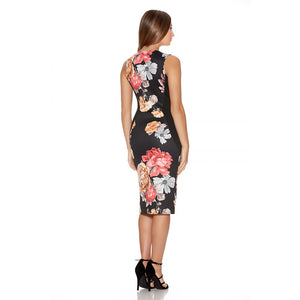 Club Dresses | Club Outfits | Party Dresses Dress, Women's Sleeveless Deep V Neck Floral Print Cocktail Party Pencil Dress - Clubbing Love