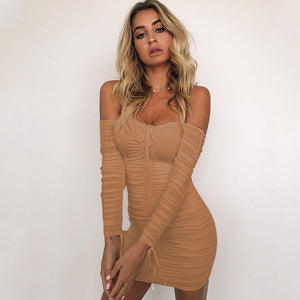 Women Autumn Winter Bandage Dress Women 2017 Sexy Off Shoulder Long Sleeve Slim Elastic Bodycon Party Dresses Vestidos - Club Dresses | Party Dresses | Club Outfits. Club Dresses from ClubbingLove.com