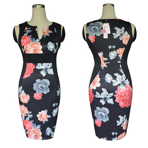 Women's Sleeveless Deep V Neck Floral Print Cocktail Party Pencil Dress
