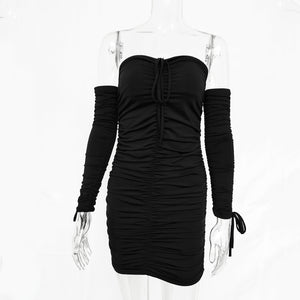 Women Autumn Winter Bandage Dress Women 2017 Sexy Off Shoulder Long Sleeve Slim Elastic Bodycon Party Dresses Vestidos