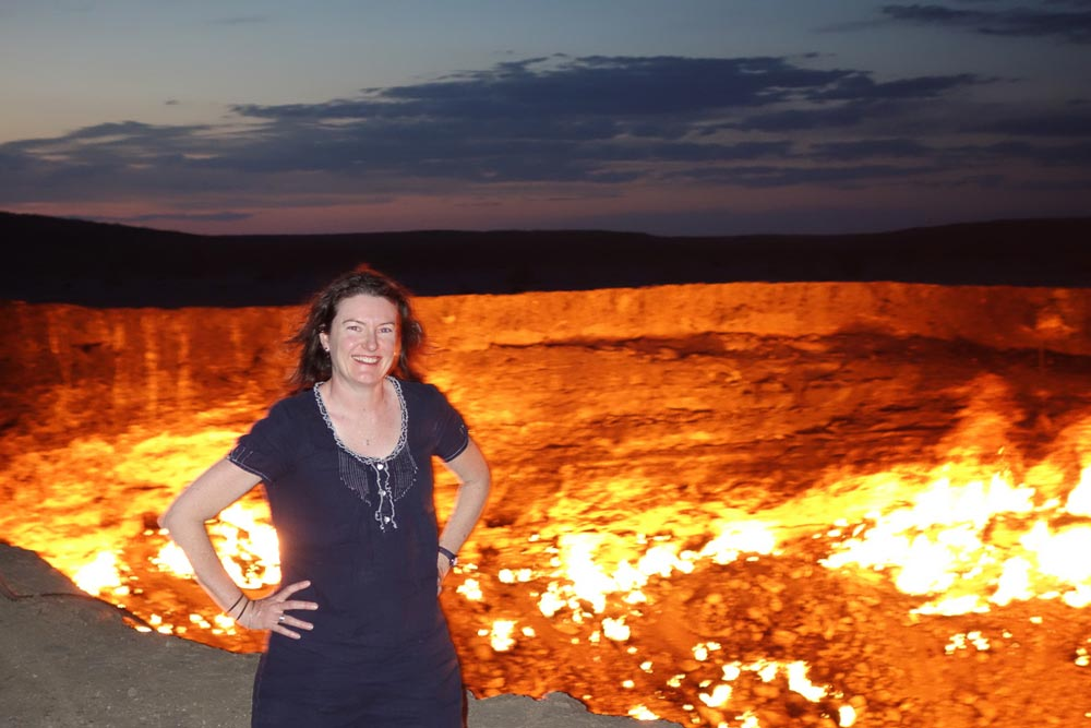 Me at the burning Darvaza crater, Turkmenistan