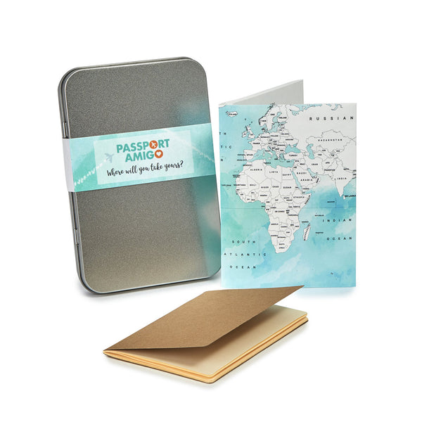 Watercolour World Map Travel Wallet Set (Colour-in)