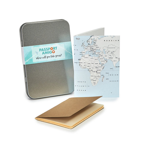 Blue Sea World Map Travel Wallet Set (Colour-in)
