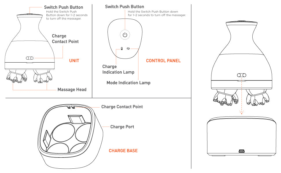 Sketch for head massager, buttons and features
