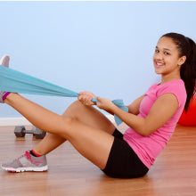 Woman at Fitness Class Using Body Sport Exercise Bands
