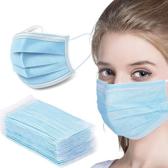 Woman wearing 3-Ply Earloop Mask