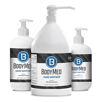 Group image of BodyMed Hand Sanitizer available in 16.9 oz., 33 oz., and 1 gallon sizes.