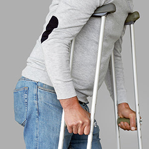 BodyMed Aluminum Crutches  - Close up of hands on grip of crutches