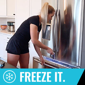 Freeze Sleeve Cold Therapy Compression Sleeve - Women opening up freezer