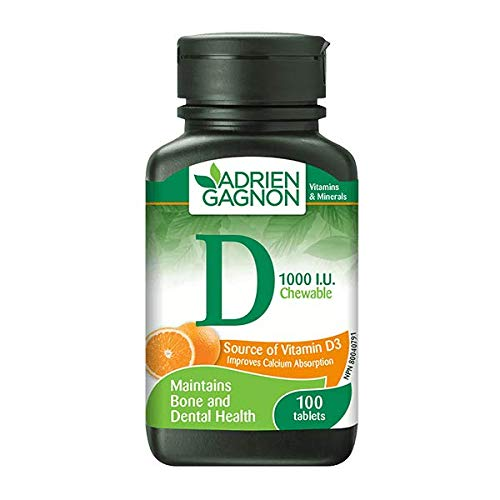 Adrien Gagnon - Vitamin D 1000 IU, Bone & Dental Health, Natural Orange Flavor, 100 Chewable Tablets