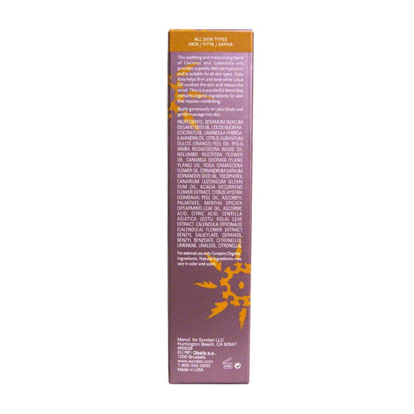 Sundari Gotu Kola and Lotus Body Oil, 3.4 Ounce