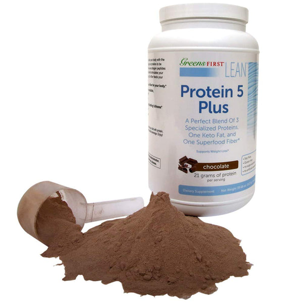 Greens First® Lean™ Protein 5 Plus Dietary Supplement – Protein Powder with Whey Protein, Collagen Protein and MCT Oil – Nutritional Supplement