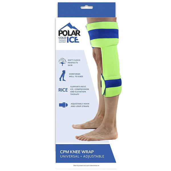 Polar Ice CPM Knee Wrap and Brace, Cold Therapy Ice Pack, Wear Over Knee Brace, Universal Size