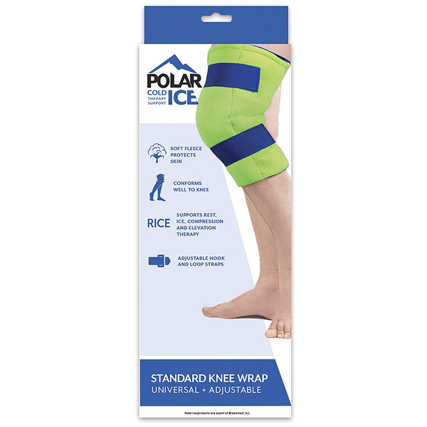Polar Ice Standard Knee Wrap, Cold Therapy Ice Pack, Wearable Ice Pack, Adjustable velcro (Color may vary)